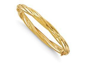 Italian 8mm Polished Twisted Hinged Bangle Bracelet in 14K Yellow Gold