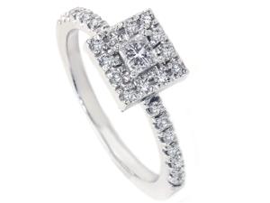 Womens 1/2ct Princess Cut Diamond Engagement Ring 14K White Gold