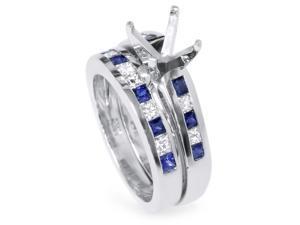 1ct Blue Sapphire Princess Cut Diamond Ring Semi Mount 14K White Gold