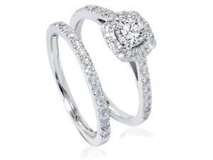 7/8ct Cushion Halo Diamond Engagement Ring Set 14K White Gold