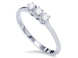 1/5ct 3-Stone Real Diamond Promise Anniversary Engagement Ring 14K White Gold