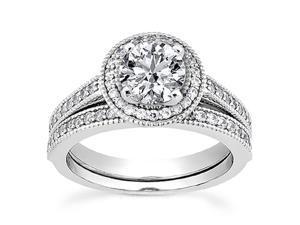 3/4ct Diamond Engagement Ring Set 14K White Gold