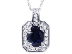 1 7/8ct Oval Genuine Blue Sapphire & Diamond Halo Pendant 14K White Gold