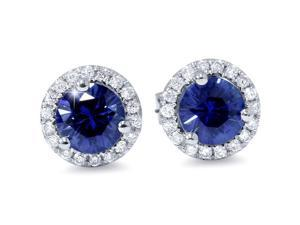 1 Carat Simulated Blue Sapphire Real Diamond Halo Studs Earrings 14K White Gold