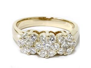 1 1/3ct Diamond Three Stone Ring 14K Yellow Gold