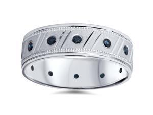 Mens Treated 1/3ct Blue Diamond Brushed Wedding Band 14K White Gold