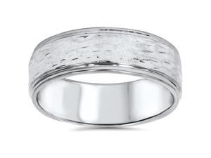 Hand Etched 6mm Dome Wedding Band 10K White Gold
