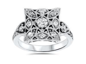 1/2ct Vintage Diamond Ring 10K White Gold