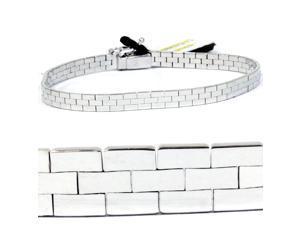 """14K White Gold Brick Omega Bracelet 7.5"""" Solid Heavy"""