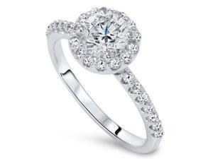 Halo Diamond Engagement Ring 7/8ct Round Brilliant Cut 14k White Gold