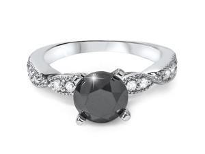2 1/4ct Treated Black & White Diamond Engagement Ring 14K White Gold