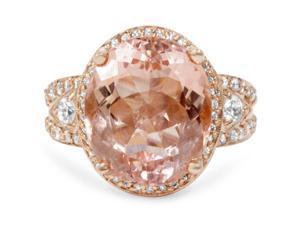 9ct Morganite & Diamond Engagement Ring 14K Rose Gold Halo Split Shank