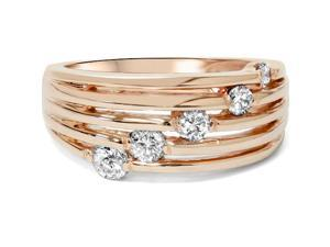 14K Rose Gold 1/2ct Diamond Right Hand Journey Ring High Polished Multi Row
