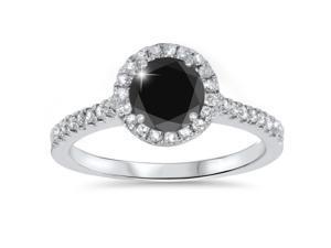 1 3/8ct Treated Diamond & Black Engagement Ring 14K White Gold