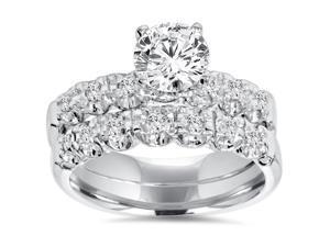 1 Carat Diamond Engagement Ring Matching Wedding Band Prong Set 14K White Gold