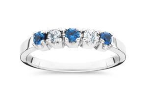 1/4ct Treated Blue & White Diamond 5-Stone Wedding Womens Ring 10K White Gold