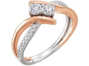 5/8CT Forever Us 2 Stone Diamond Engagement Ring 14K White & Rose Gold