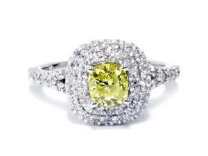 1 1/2 Ct Canary Cushion Enhanced Diamond Double Halo Engagement Ring White Gold