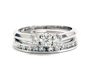 1ct Diamond Engagement Wedding Ring Set 3-Stone Channel Set Round Cut Solitaire