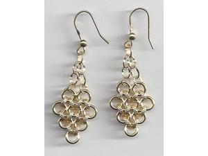 14KT Yellow Gold Italian Fancy Bib Earrings Womens Dangle Eurowire 2.6 grams