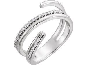 14kt White 1/6 CTW Diamond Negative Space Ring Right Hand Twist Ring