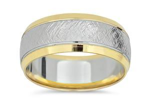 14k Yellow Gold Two Tone Wedding Band Mens 8mm White Gold Handmade Ring