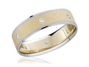 Mens Diamond 14k Yellow & White Gold Two Tone Wedding Ring Brushed Band