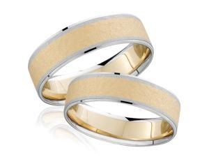 14k White & Yellow Gold Two Tone Hammered His His Wedding Ring Band Set