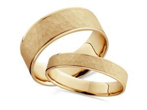 His Hers 14k Yellow Gold Brushed Hammered Matching Wedding Band Set 8/4mm Wide