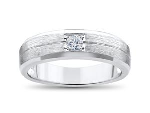 Mens Diamond Wedding Ring Solitaire Round Brilliant Cut Brushed White Gold Band