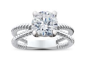 1 1/2 ct Solitaire Diamond Engagement Ring 14K White Gold Enhanced