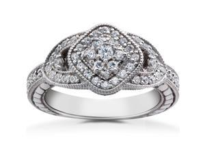 3/4ct Pave Cluster Vintage Diamond Engagement Anniversary Ring 14K White Gold