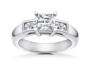 1 1/2 ct Princess Cut Solitaire Diamond Engagement Ring 14 K White Gold Enhanced