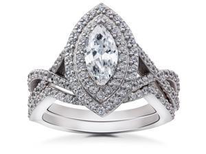 2 3/8ct Marquise Diamond Double Halo Engagement Wedding Ring Set White Gold 14 k