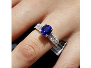 Medium Blue Genuine Sapphire & Pave VS Diamond Ring 18K White Gold 2.72 Carat