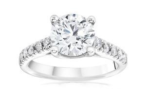 2 1/5ct Cathedral Enhanced Round Cut Diamond Engagement Ring 14K White Gold