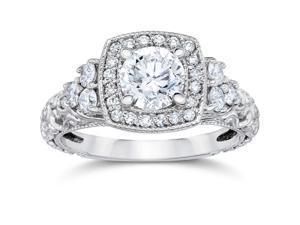 1 1/7Ct Cushion Halo Round Diamond Vintage Engagement Ring 14K White Gold