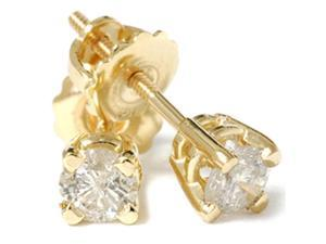 1/2ct Diamond Stud Earrings Solid 14K Gold