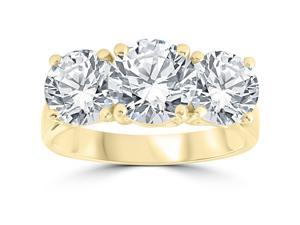 5 1/2ct Diamond 3 Stone Round Solitaire Engagement Ring 14K Yellow Gold Enhanced