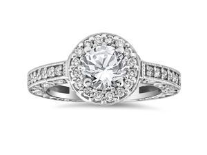 1 1/3cttw Halo Vintage Diamond Engagement Ring With Side Stones Gold Enhanced