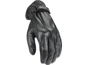 Power Trip Jet Black Womens Leather Gloves Perf Black XL