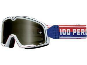 100% Barstow Classic MX/Offroad Goggles White/Red/Blue One Size