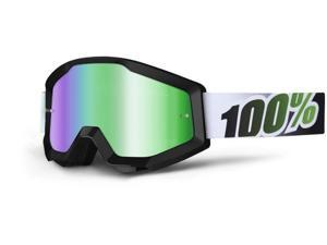 100% Strata MX Goggles Mirror Lens Black/Lime Green/Green