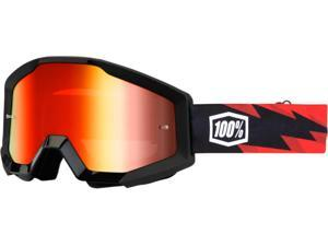 100% Strata MX Goggles Mirror Lens Slash Black/Red