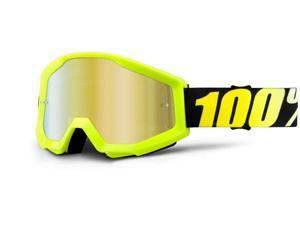 100% Strata MX Goggles Mirror Lens Neon Yellow/Gold