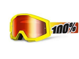 100% Strata MX Goggles Mirror Lens Sunny Days Yellow/Red