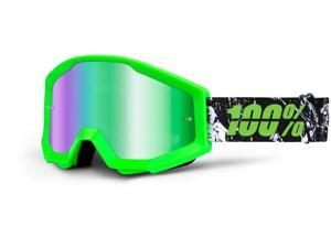 100% Strata MX Goggles Mirror Lens Crafty Lime Green/Green