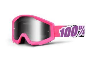 100% Strata MX Goggles Mirror Lens Bubble Gum Pink/Silver