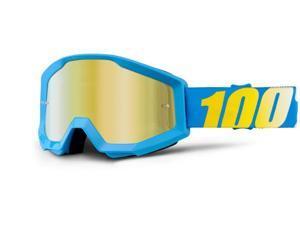 100% Strata MX Goggles Mirror Lens Cyan Blue/Gold