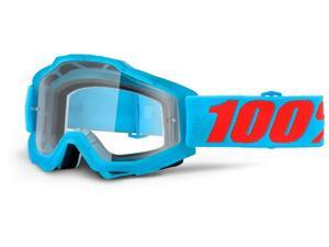 100% Accuri Clear Lens Youth MX Goggles Acid Cyan Blue
